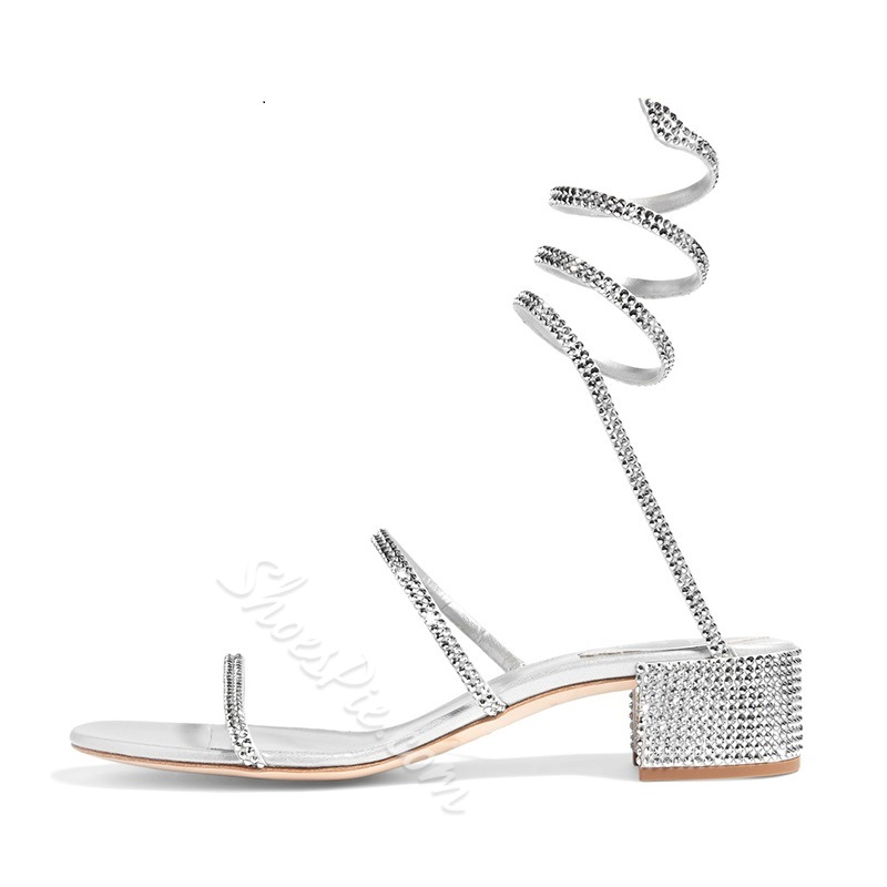 Rhinestone Ankle Strap Open Toe Sandals