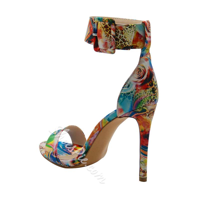 Line-Style Buckle Stiletto Heel Dress Sandals