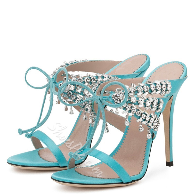Rhinestone Lace-Up Stiletto Heel Mules