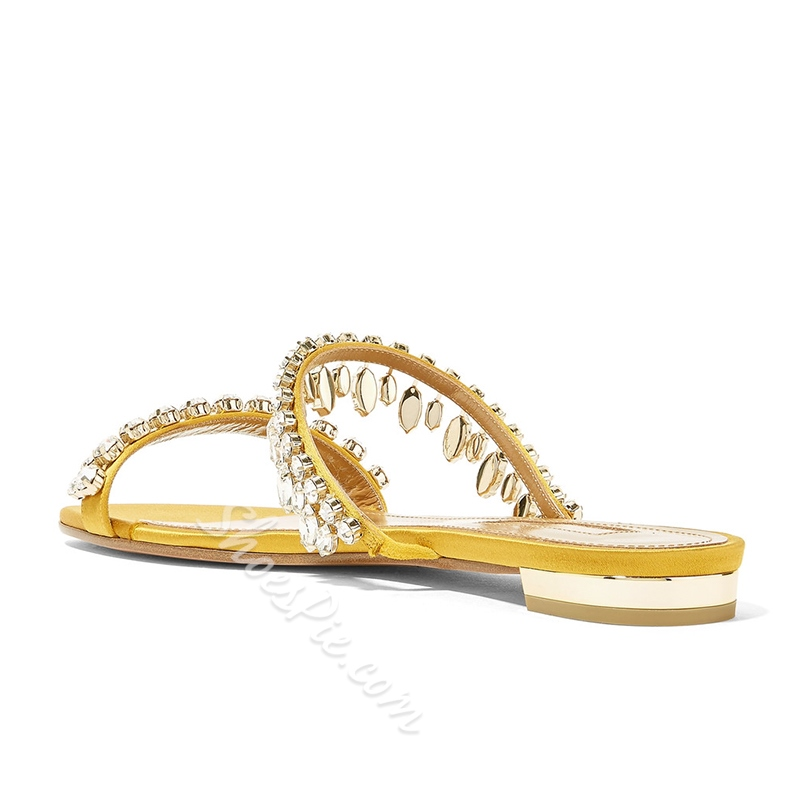 Rhinestone Casual Slip-On Flat Sandals