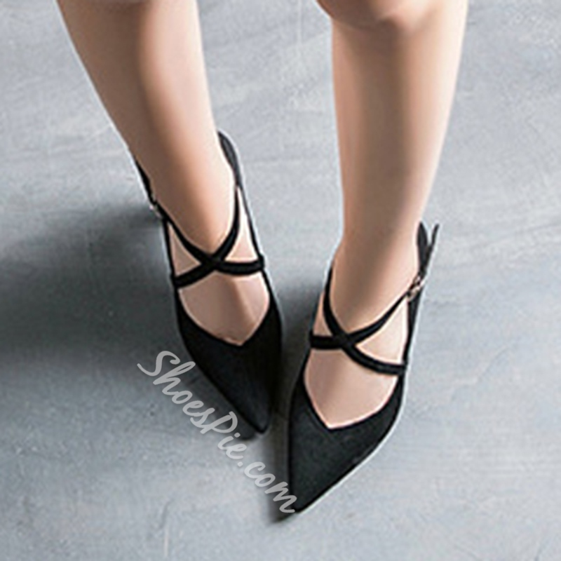 Solid Color Buckle Chunky Heel Women's Shoes