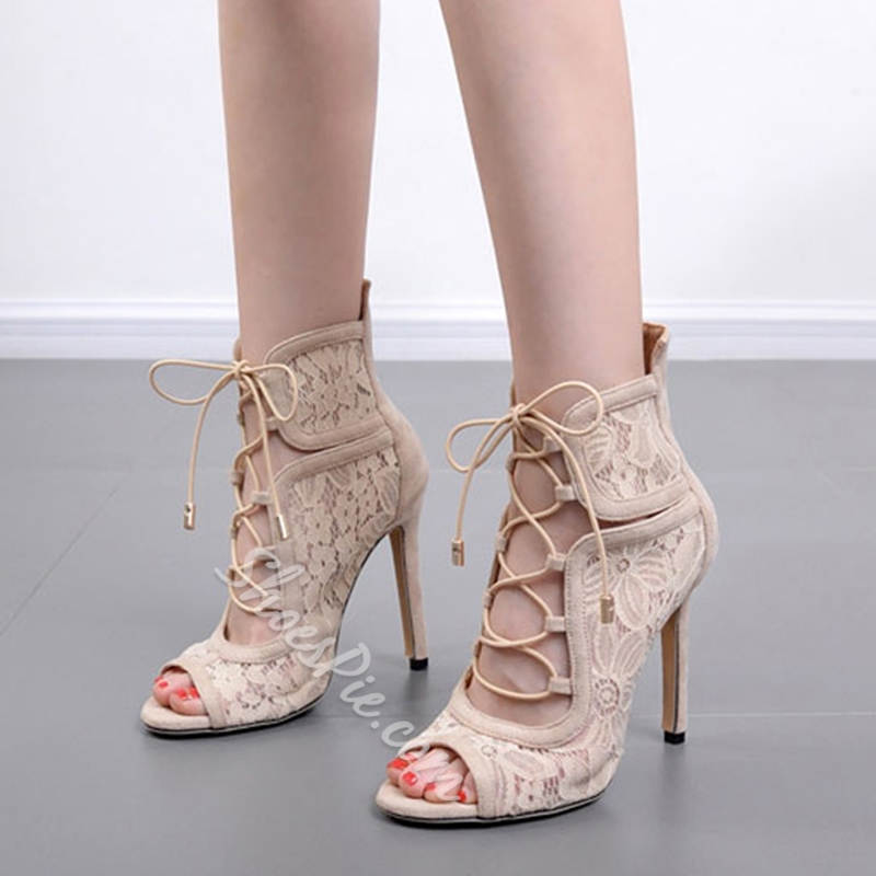 Lace-Up Peep Toe Stiletto Heels