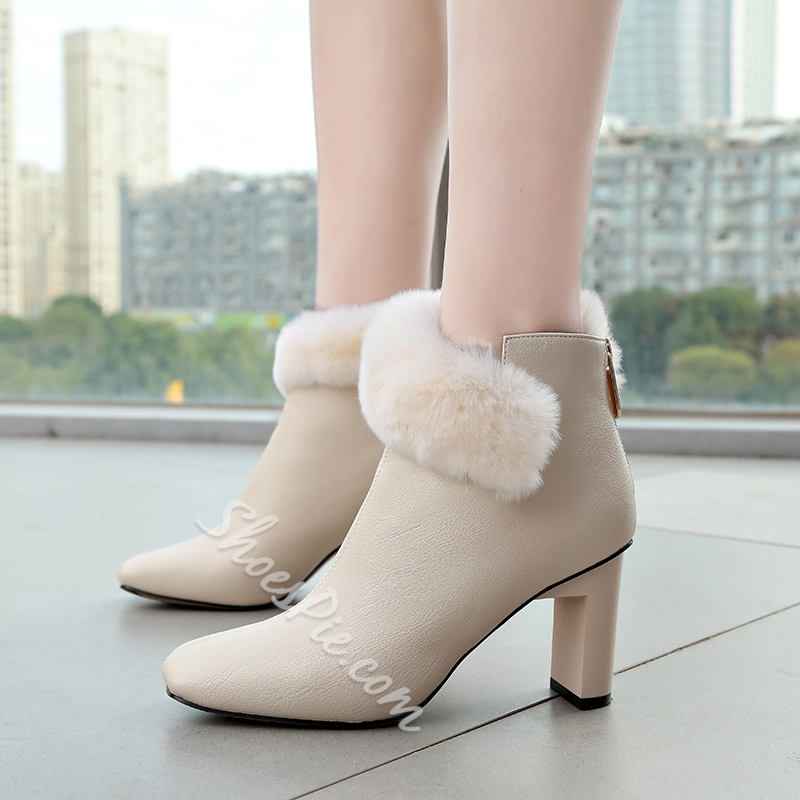 Square Toe Fluff Chunky Heel Boots