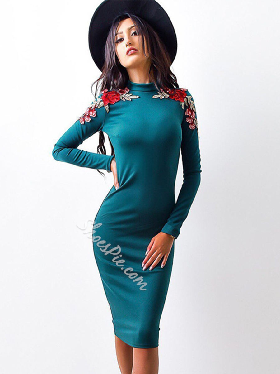 Stand Collar Embroidery Floral Long Sleeve Bodycon Dresses
