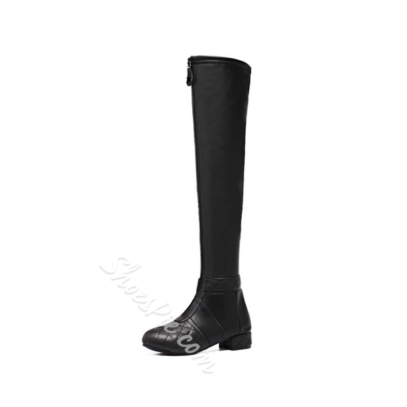 Black Front Zipper Block Heel Knee High Boots
