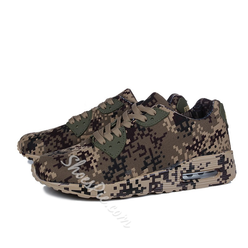 Camouflage Print Sneakers Lace-Up Athletic Shoes
