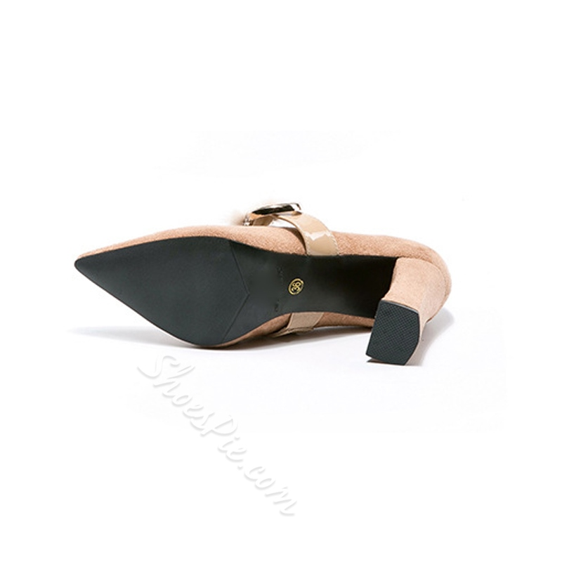 Solid Color Slip-On Buckle Women's Shoes