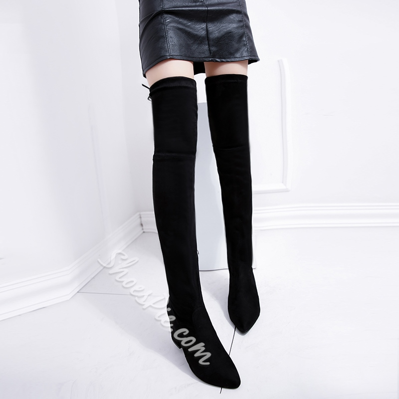 Fashion Black Lace-Up Back Chunky Heel Thigh High Boots