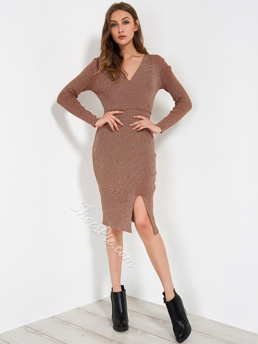 V-Neck Asymmetric Long Sleeve Bodycon Dresses