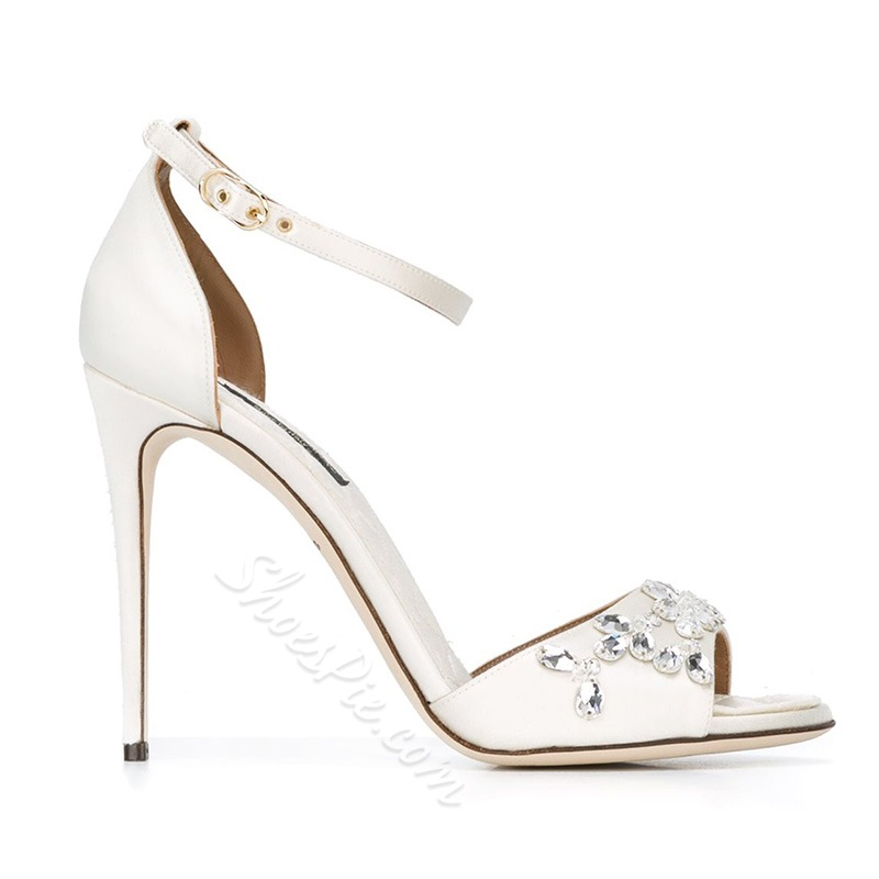 White Rhinestone Stiletto Heel Wedding Shoes