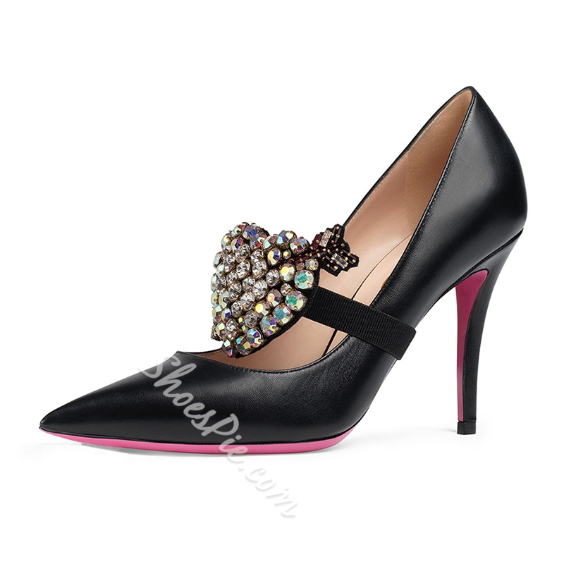 Rhinestone Solid Color Stiletto Heel Pumps