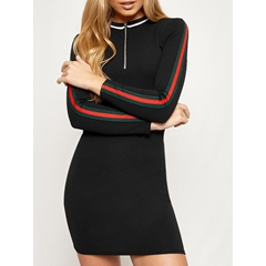 Stand Collar Long Sleeve Bodycon Dresses