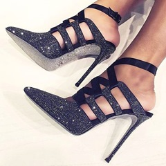 Rhinestone Black Strappy Stiletto Heels