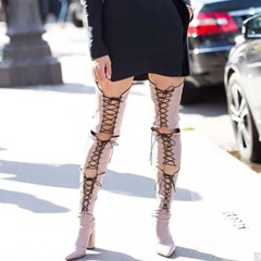 Lace-Up Front Chunky Heel Knee High Boots