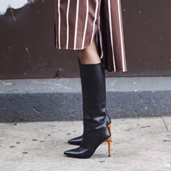 Fashion Slip-On Stiletto Heel Knee High Boots