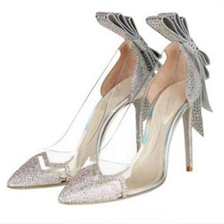 Rhinestone Bow See-Through Jelly Stiletto Heels