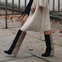 Fashion Color Block Chunky Heel Knee High Boots
