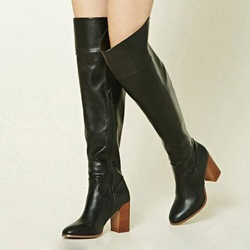 Casual Black Chunky Heel Knee High Boots