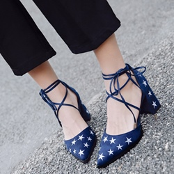 Embroidery Lace-Up Solid Color Low Heels