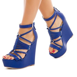 Blue Buckle Strappy Wedge Heels