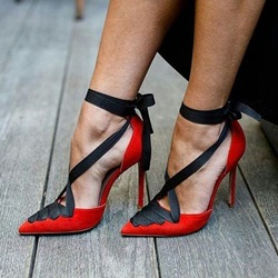 Lace-Up Red Women's Stiletto Heels