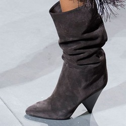 Slip-On Shaped Heel Fashion Boots