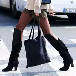Sexy Black Chunky Heel Knee High Boots
