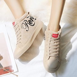 Embroidery Plush Casual Lace-Up Sneakers