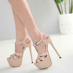 Sexy T-Shaped Buckle High Stiletto Heel Platform Sandals