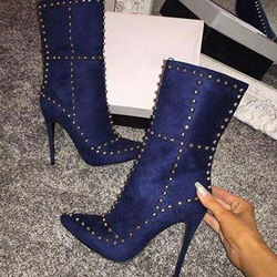 Rivet Pointed Toe Stiletto Heel Women's Boots