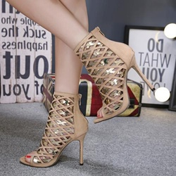 Hollow Peep-Toe Zipper Stiletto Heels