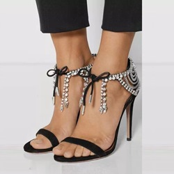 Rhinestone Black Stiletto Heel Sandals