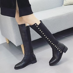 Casual Star Rivet Flat Heel Knee High Boots