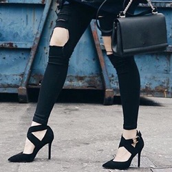 Sexy Black Buckle Stiletto Heels