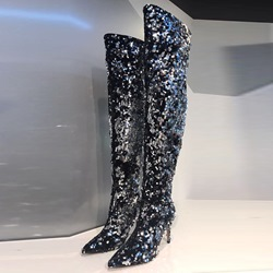 Sequin Pointed Toe Stiletto Heel Knee High Boots