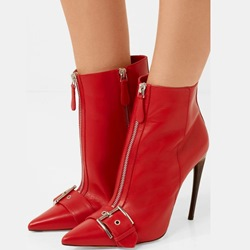 Sexy Red Stiletto Heel Front Zipper Women's Boots