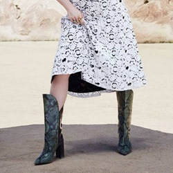 Serpentine Pointed Toe Chunky Heel Knee High Boots