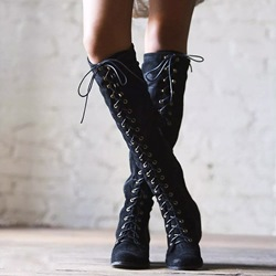 Casual Cross Strap Chunky Heel Knee High Boots