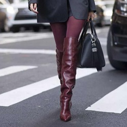 Sexy Burgundy Stiletto Heel Knee High Boots