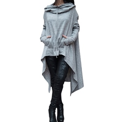 Hooded Long Sleeve Pocket Plain Women's Causal Dress