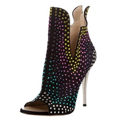 Rhinestone Open Toe Stiletto Heel Women's Boots
