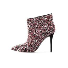 Rhinestone Slip-On Stiletto Heel Women's Boots