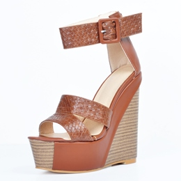 Brown Buckle Open Toe Wedge Heels