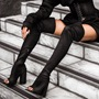 Sexy Open Toe Chunky Heel Knee High Boots
