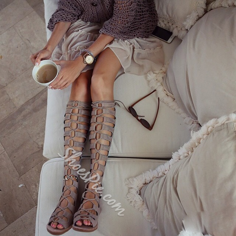 Lace-Up Open Toe Gladiator Sandals