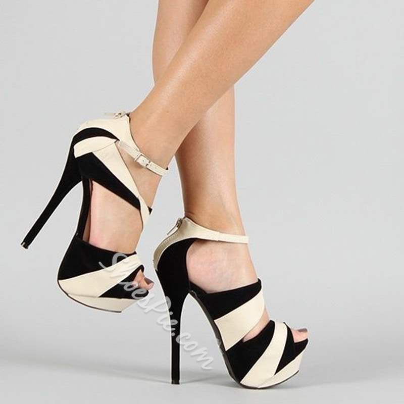 Shoespie Black Suede Trendy Zipper Platform Stiletto Heels