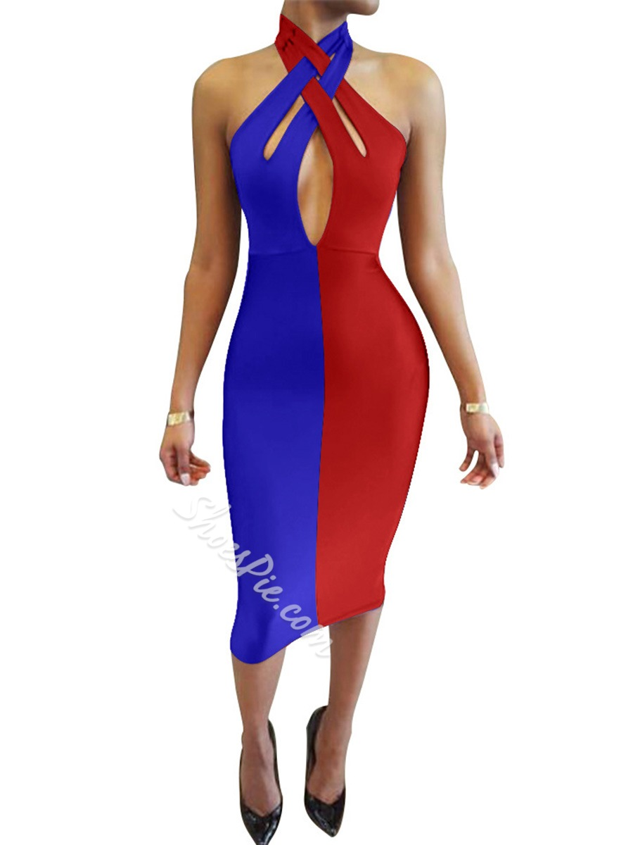 Backless Color Block Sleeveless Halter Bodycon Dresses