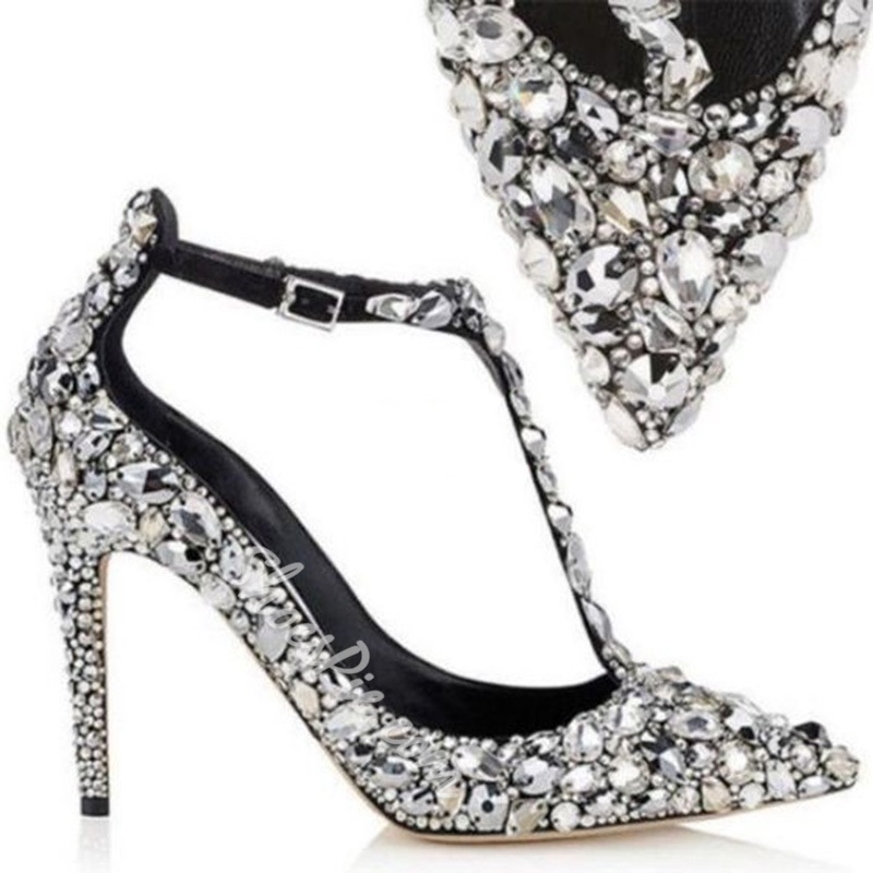 Rhinestone T-Shaped Buckle Stiletto Heels