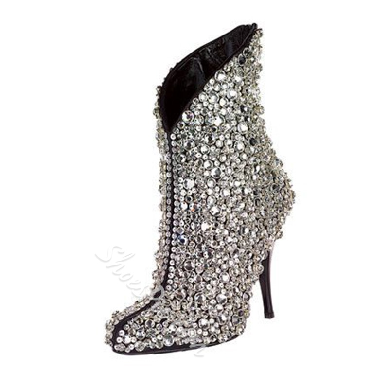 Rhinestone Stiletto Heel Fashion Boots