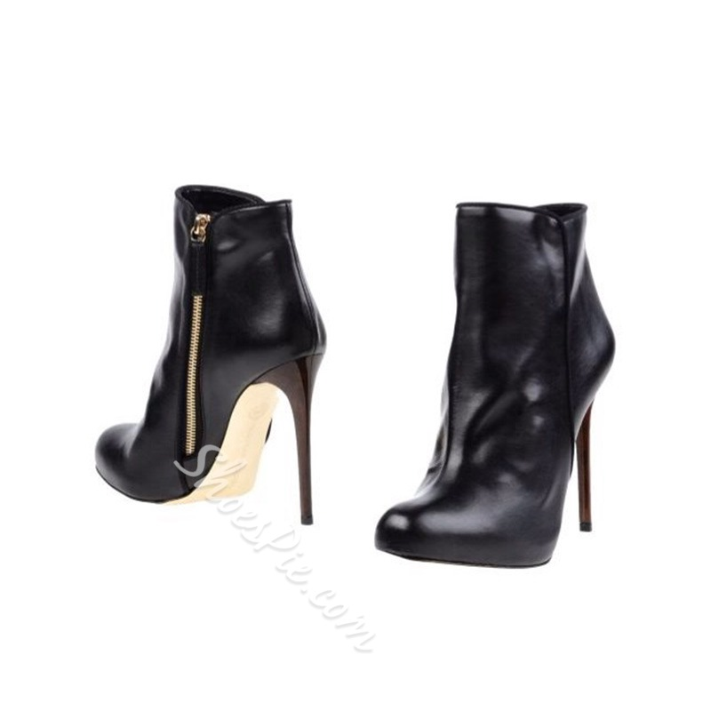 Black Stiletto Heel Side Zipper Boots